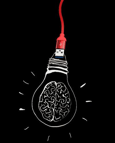 USB-Stick in Gehirn