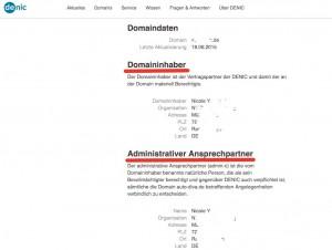 Denic Domain für Artikel Zugangsdaten