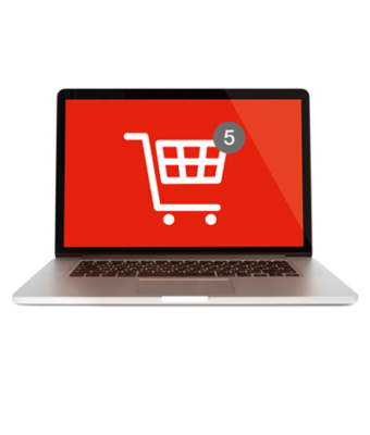 Computer mit abgebildetem Warenkorb