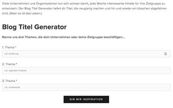 Corporate Blog: Titel Generator