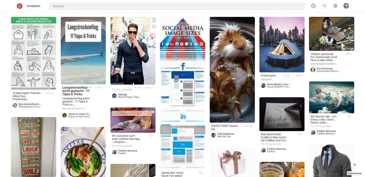 Screenshot Pinterest für Business