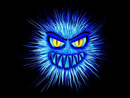 Gezeichnetes blaues Monster symbolisiert Malware und Trojaner