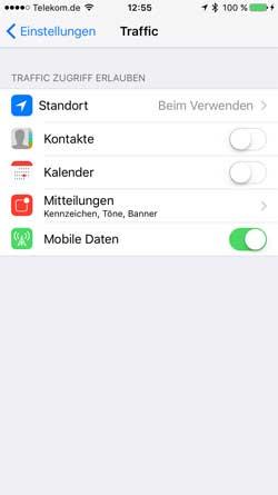 Smartphone Navigations-App Berechtigungen