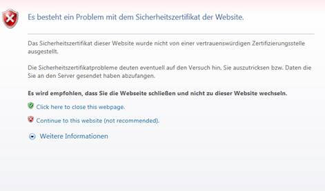 IE-Fehler-SSL-Zertifikat