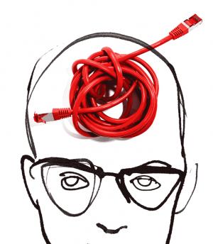 Oberere Gesichtshälfte mit Kabelknoten als Hirnersatz mit weißem Hintergrund