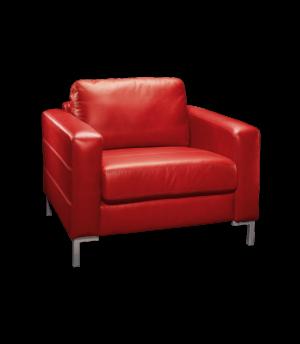 Roter Ledersessel als Sinnbild für Therapeuten-Sitzung