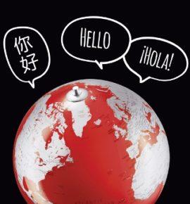 Weltkugel mit Sprechblasen in verschiedenen Sprachen