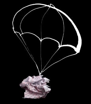 Ein Fallschirm schützt vor Schäden