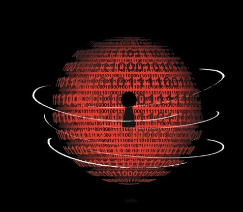 Weltkugel mit Schlüsselloch als Symbol für Cyber