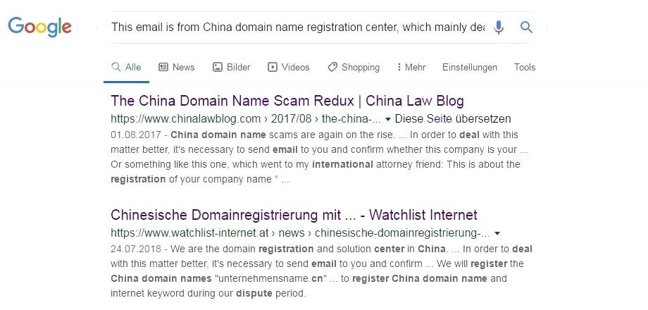 Chinese Domain Name Scam Suchergebnisse