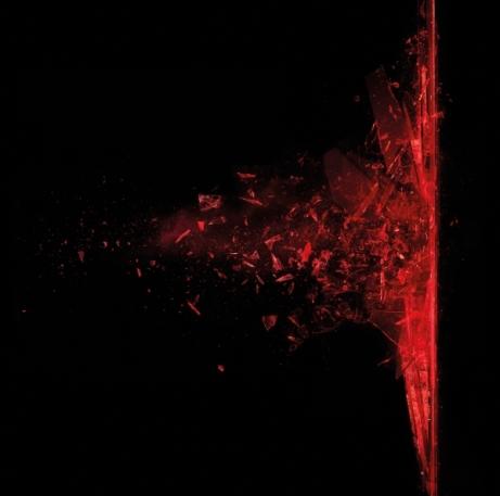 Rotes zerplatzendes Glas