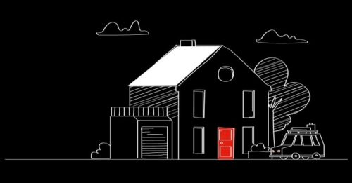 Gezeichnetes Haus mit roter Tür